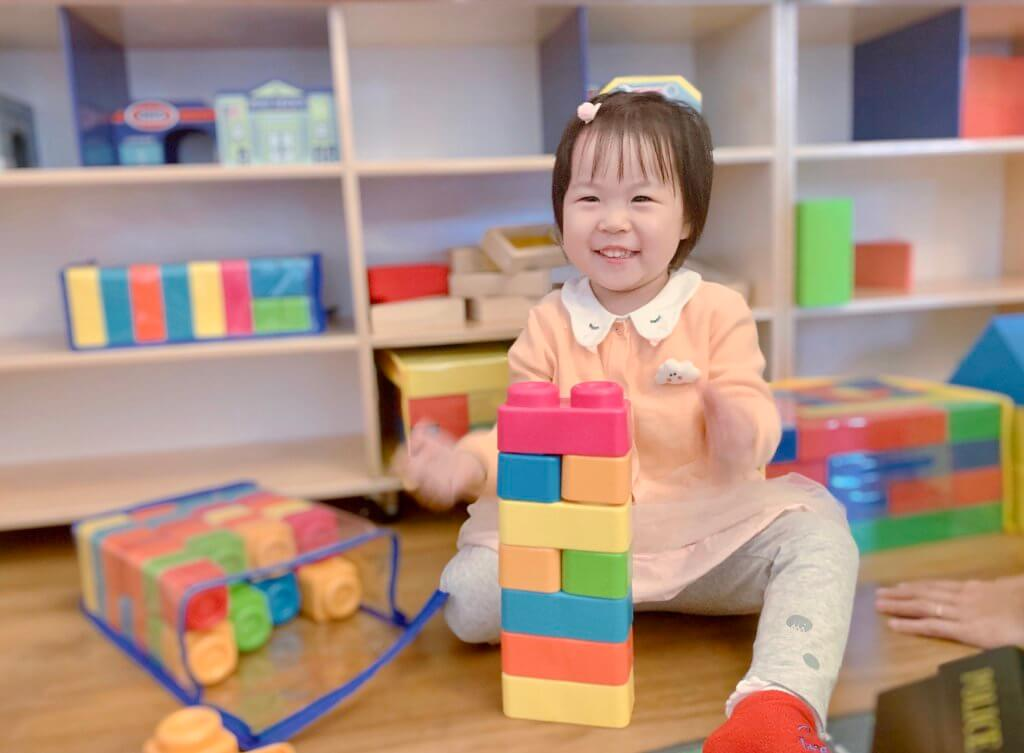 language learning class with blocks